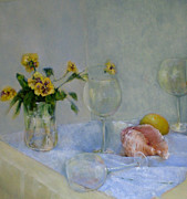 Wine Glasses Paintings - Pansies and Wine by Kathleen Hoekstra