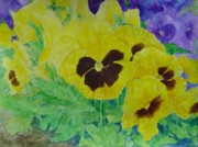 K Joann Russell - Pansies Colorful Flowers Floral Garden Art Painting Bright Yellow Pansy Original