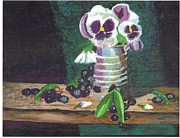 White Grapes Framed Prints - Pansies in a Tin Can Framed Print by Janet Edwards