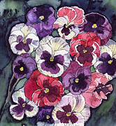 Perennials Painting Posters - Pansies Poster by Katherine Miller