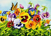 Flower Gardens Painting Posters - Pansies with Butterfly Poster by Janis Grau