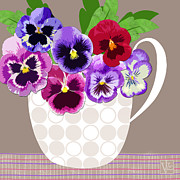 Floral Still Life Mixed Media Prints - Pansy Passion Print by Valerie  Drake Lesiak