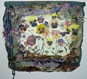 Hand Embroidery Tapestries - Textiles - Pansy Patch Art Quilt by Pam Reed
