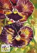 Stamp Originals - Pansy Watercolor With Stamp by Alfred Ng