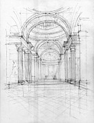 European Artwork Drawings Prints - Pantheon interior Print by Peut Etre
