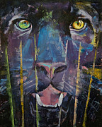 Leopard Face Prints - Panther Trance Print by Michael Creese