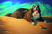 Collie Digital Art Posters - Panting Dog with Ball Poster by Stephen Conroy