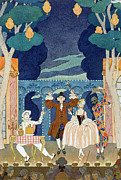 Columbine Framed Prints - Pantomime Stage Framed Print by Georges Barbier