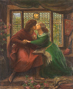 Rossetti Painting Framed Prints - Paolo and Francesca da Rimini Framed Print by Dante Gabriel Rossetti