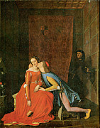 Embrace Paintings - Paolo and Francesca by Jean-Auguste-Dominique Ingres