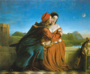 Embracing Painting Posters - Paolo and Francesca Poster by William Dyce