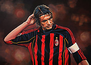Basket Ball Painting Framed Prints - Paolo Maldini Framed Print by Paul  Meijering