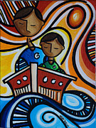 Family Print Paintings - Papa y Su hijo by Mary Tere Perez