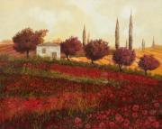Red Framed Prints - Papaveri In Toscana Framed Print by Guido Borelli