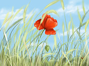 Poppies Field Digital Art - Papavero by Veronica Minozzi