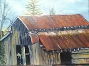 Old Barn Paintings - Papaws Barn by Melissa Fisher