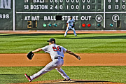 Red Sox Metal Prints - Papelbon the big stretch Metal Print by Dennis Coates