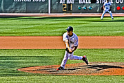 Red Sox Art - Papelbon the follow through by Dennis Coates