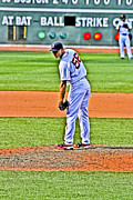 Red Sox Art - Papelbon the look by Dennis Coates