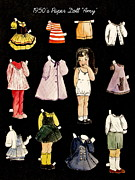 Pajamas Prints - Paper Doll Amy Print by Marilyn Smith