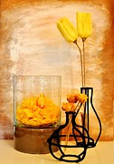 Floral Still Life Prints - Paper Dried and Silk Yellow Flowers Print by Marsha Heiken