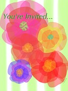 Special Occasion Digital Art Prints - Paper Flowers invitation  Print by Christine Fournier