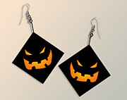 Trick Or Treat Digital Art Originals - Paper Halloween Pumpkin Earrings by Melissa A Benson