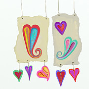 Torn Painting Framed Prints - Paper Heart Mobile 1 Framed Print by Darlene Seale