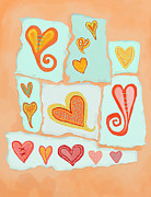 Torn Painting Framed Prints - Paper Hearts 3 Framed Print by Darlene Seale