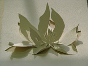Paper Sculpture Posters - Paper Magnolia  Poster by Alfred Ng