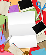 Scissors Digital Art Posters - Paper mail composition Poster by Richard Laschon