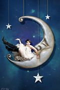 Crescent Moon Digital Art Prints - Paper Moon Print by Linda Lees