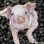 Pig Mixed Media Posters - Paper Pig Poster by Beth Watkins
