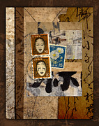 Golden Mixed Media Posters - Paper Postage and Paint Poster by Carol Leigh