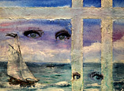 Sailboat Ocean Mixed Media Posters - Paper Window 3 Poster by Patricia Motley