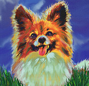 Dogs Digital Art Metal Prints - Papillion Puppy Metal Print by Jane Schnetlage