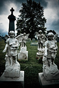 Funeral Framed Prints - Parade of Angels Statues at Cemetery Framed Print by Amy Cicconi