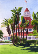 Hotel Paintings - Paradise at the Hotel Del Coronado by Mary Helmreich