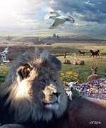 Lions Digital Art Posters - Paradise Poster by Bill Stephens