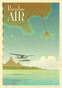 Air Travel Mixed Media Prints - Paradise By Air Print by Tomas Mayer