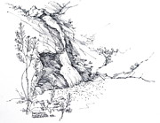 Falls Drawings - Paradise Falls Thousand Oaks California by Robert Birkenes