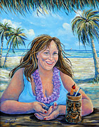 Tiki Bar Painting Prints - Paradise Found Print by Gail Butler