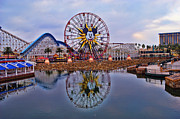 Anaheim California Posters - Paradise Pier Reflection Poster by Tommy Anderson