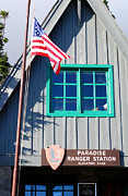 Neil Armstrong And The Moon Prints - Paradise Ranger Station. Mt. Rainier National Park Print by Connie Fox
