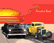 American Graffiti Digital Art Framed Prints - Paradise Road Framed Print by Barry Cleveland
