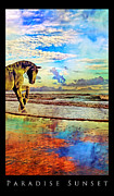 Equine Mixed Media Prints - Paradise Sunset Print by Betsy A Cutler East Coast Barrier Islands