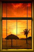 Tropical Sunset Digital Art Prints - Paradise View I Print by Melanie Viola