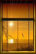 Tropical Sunset Digital Art Prints - Paradise View II Print by Melanie Viola