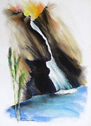 Waterfall Pastels Originals - Paradise Waterfall Thousand Oaks CA by Robert Birkenes