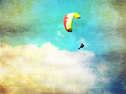 Horizontal Prints - Paraglider Flying Above the Clouds Print by Cindy Singleton